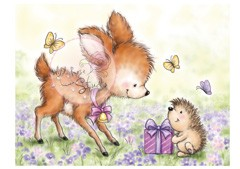 Clear Stamp Wild Rose Studio - A7 Bluebell with Hedgehog