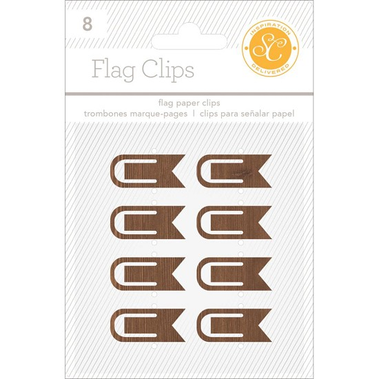 "Studio Callico - Essentials Flag Clips .5""X1.25"" 8/Pkg - Woodgrain"