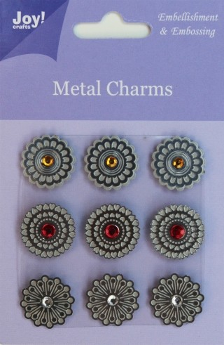 Joy! Crafts - Metal charms rond met strass steentjes