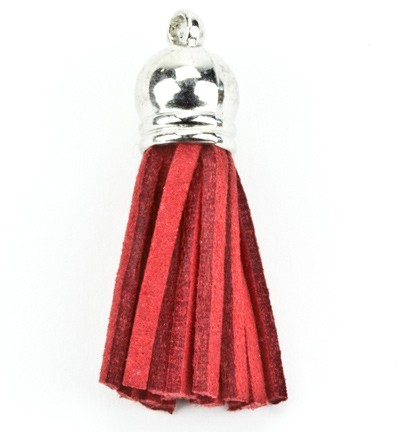 Hobby & Crafting Fun - Tassels with cap - Faux suede red/silver