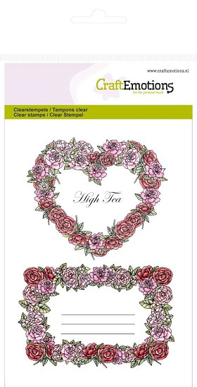 Clear stamp - CraftEmotions - High Tea Rose - A6 Rozen labels