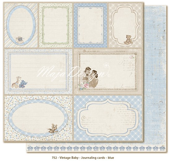 Maja Design - Vintage Baby - Journaling Cards blue