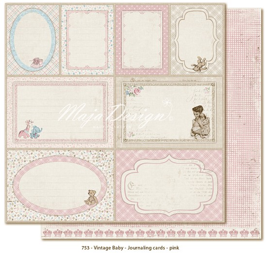Maja Design - Vintage Baby - Journaling Cards pink
