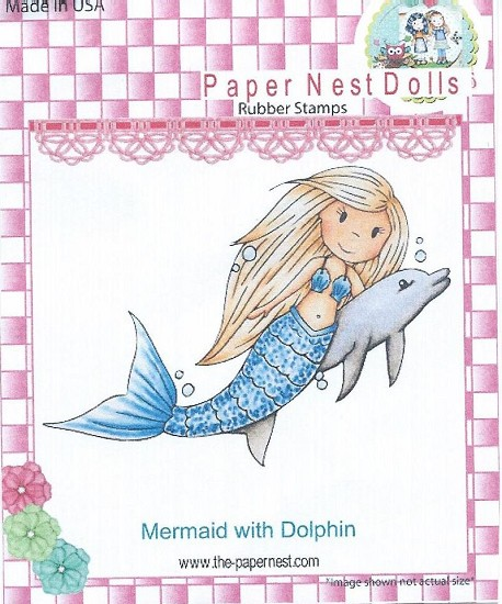 Rubber stamp - Paper Nest Dolls - Mermaid Avery with Dolphin
