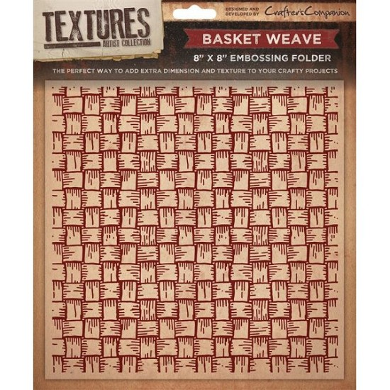 "Crafters Companion - Embossingfolder Textures - 8"" x 8"" - Basket Wave"