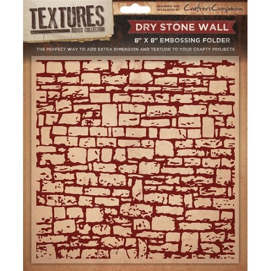 "Crafters Companion - Embossingfolder Textures - 8"" x 8"" - Dry Stone Wall"
