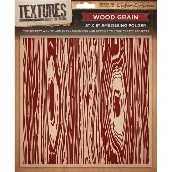 "Crafters Companion - Embossingfolder Textures - 8"" x 8"" - Wood Grain"