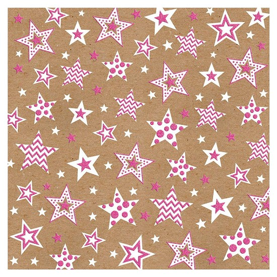 Scrappapier Bella! - Kraftastic - Glittered Cardstock - Pink Starry Night