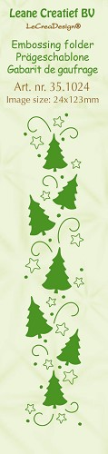 Leane Creatief - Embossing folder Christmas trees 24x123mm