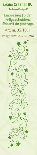Leane Creatief - Embossing folder Holly Leaves 23x123mm