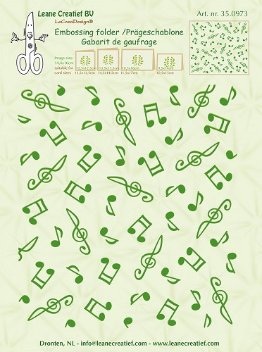 Leane Creatief - Embossing folder background Musical symbols 14.4x16cm