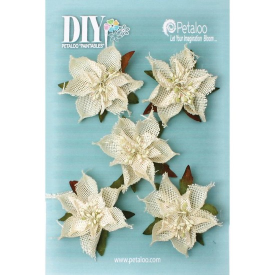 "DIY - Paintables Burlap Poinsettias - 2.5"" - 5/Pkg"