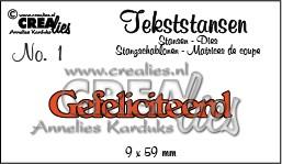 Stansmal - Crealies - tekststans - Gefeliciteerd (NL)