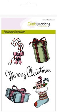 Clearstamp CraftEmotions - Sweet Vintage Christmas - Merry Christmas cadeau`s