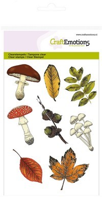 Clear stamp - CraftEmotions - Autumn Woods - Paddestoelen / Bladeren