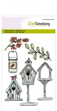 Clear stamp - CraftEmotions - Home for Christmas - Vogelhuisjes