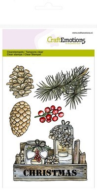 Clear stamp - CraftEmotions - Home for Christmas - Kistjes decoraties