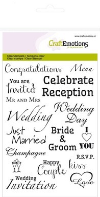 Clear stamp - CraftEmotions - A6 tekst ENG Wedding