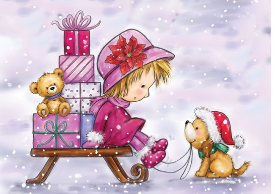 Clearstamp - Wild Rose Studio - Girl on Sleigh