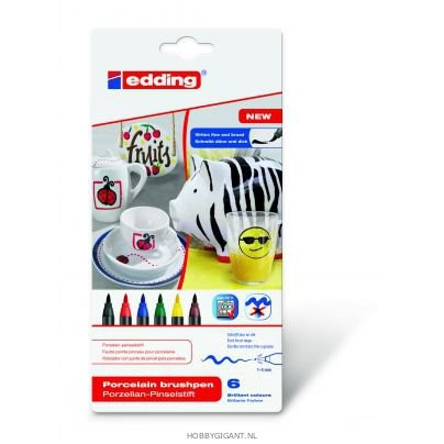 Edding-4200 - Assortie porselein brushpen 1-4mm - Family 6ST