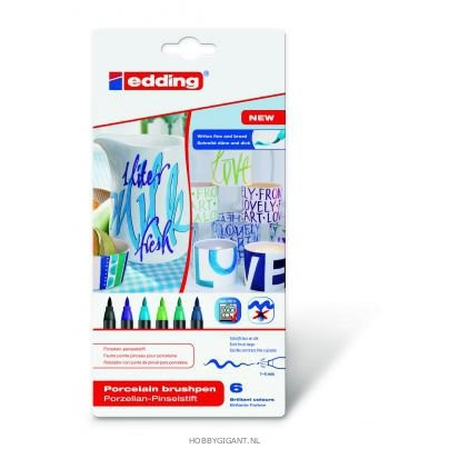 Edding-4200 - Assortie porselein brushpen 1-4mm - Cool 6ST