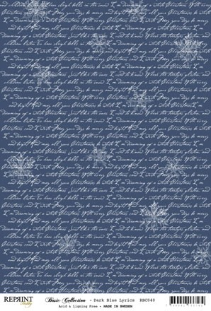 Reprint - Basic Collection A4 - Dark Blue - Lyrics