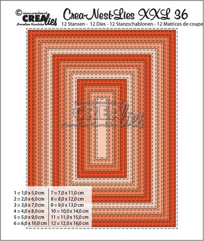 Stansmal - Crealies - Crea-nest-Lies XXL - Double Stitch rechthoek 36