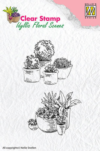 Clear Stamps Nellie Snellen - Pots with flowers