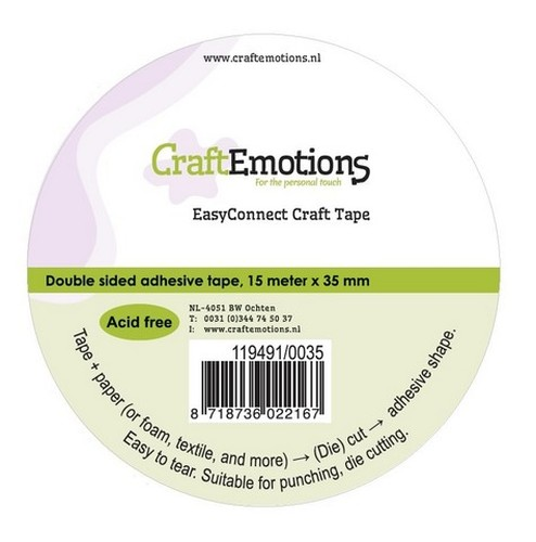 CraftEmotions EasyConnect (dubbelzijdig klevend) Craft tape  15m x 35mm