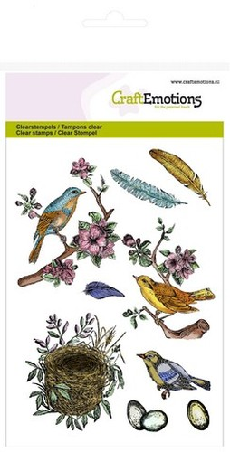 CraftEmotions Clearstamps A6 - vogels, veren, eieren