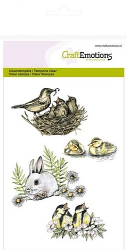 CraftEmotions Clearstamps A6 - vogels, konijn