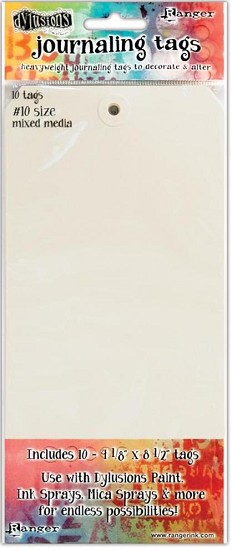 Dyan Reaveley`s - Dylusions Journal -  Journal Tags White #10""