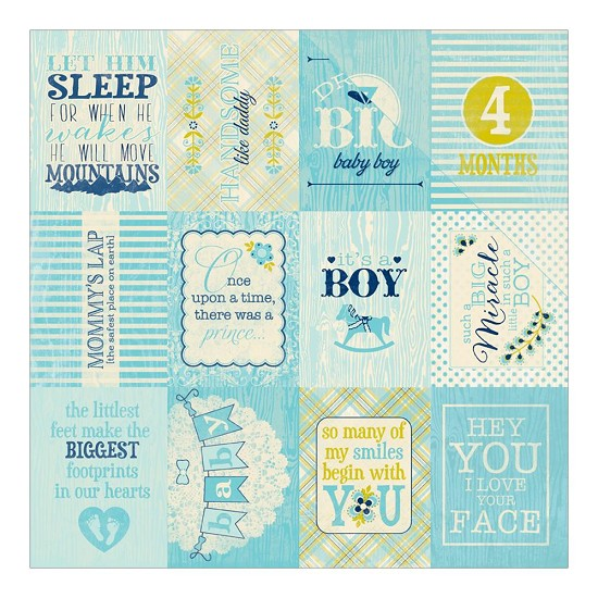 "Scrappapier Authentique - Cuddle Boy - Phrase/1st 12 Months Cut-Aparts 3""X4"""