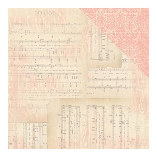 Scrappapier Authentique - Cuddle Girl -  Lullabye Sheet Music/Pink Flourish