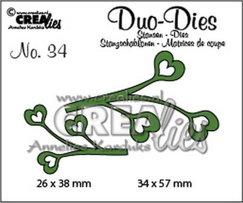 Stansmal - Crealies Duo Dies no. 34 blaadjes 4 34x57mm-26x38mm / CLDD34