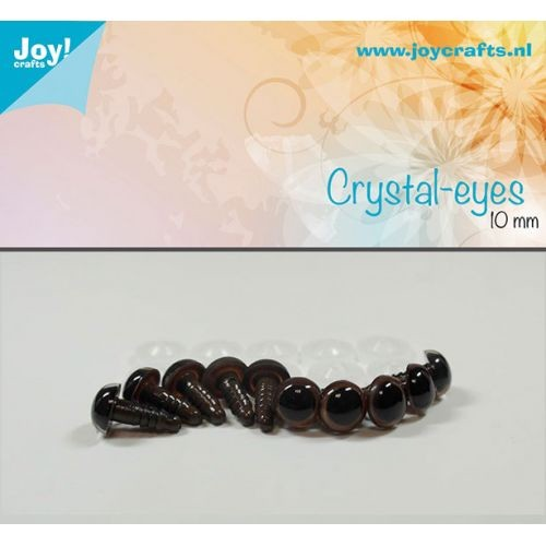 Joy! Crafts - Kristal ogen - Bruin 10mm