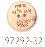 "Houten knoop - ""made with love"" - 32mm"