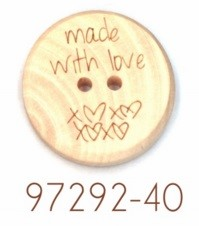"Houten knoop - ""made with love"" - 40mm"