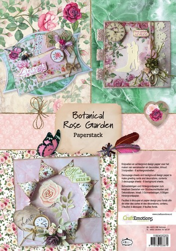 CraftEmotions - Paper stack - Botanical Rose Garden 11 vel A4