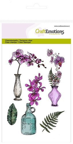 Clearstamp CraftEmotions - Romantic Orchid - Orchidee, vazen & fles