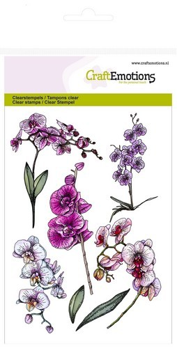 Clearstamp CraftEmotions - Romantic Orchid - Orchidee takken