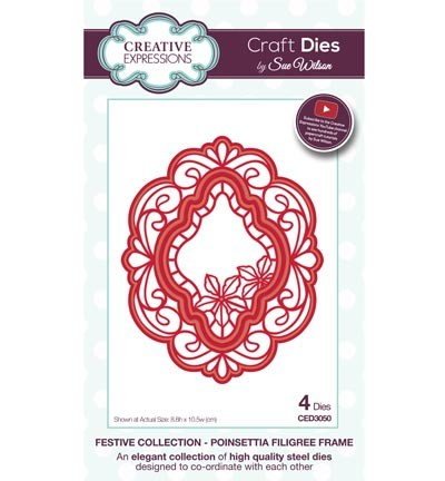 Stansmal - Creative Expressions - The Festive Collection - Poinsettia Filigree Frame