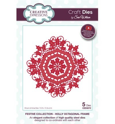 Stansmal - Creative Expressions - The Festive Collection - Holly Octagonal Frame