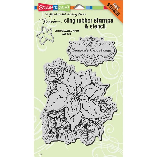 Cling stamp & stencil - Stampendous - Create A Poinsettia Set