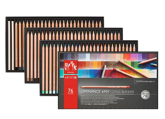Kleurpotlood Caran d`Ache - Luminance 6901 - Set á 76 stuks   2 blenders