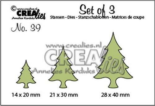 Stansmal - Crealies - Set of 3 - no. 39 Kerstbomen dun