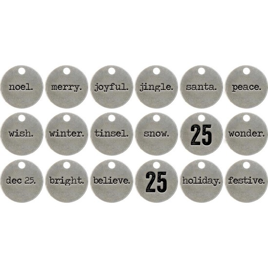 "Idea-Ology - Metal Typed Tokens .75"" - 18/Pkg"