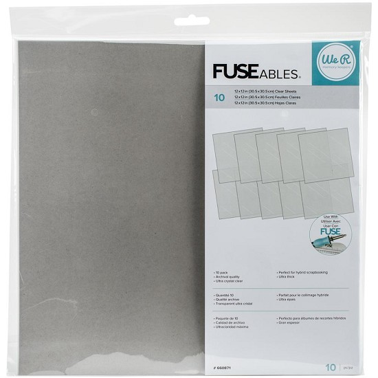 "We R FUSEables - Fuse Clear Sheets - 12""X12"" - 10/Pkg"