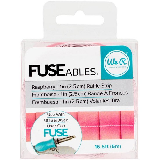 "We R FUSEables Decorative Tape 1""x16.5` - Raspberry / Ruffle"