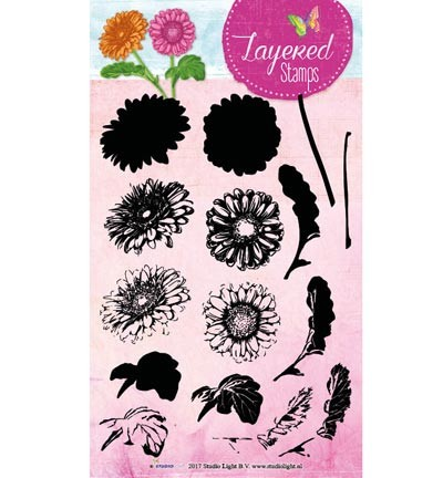 Studio Light - Clearstamp Layered Stamps - Flower nr 15